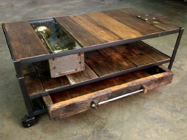 Coffee Table: Outstanding Industrial Coffee Tables Industrial Style In Iron Wood Coffee Tables With Wheels (View 3 of 40)