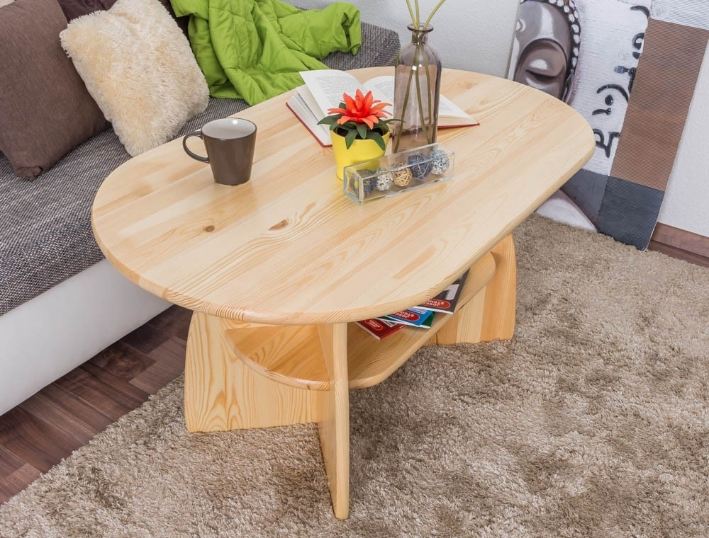 Coffee Table Solid, Natural Pine Wood 006 – Dimensions 60 X 115 X 70 With Natural Pine Coffee Tables (Photo 26 of 40)