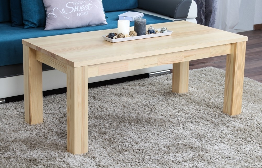 Coffee Table Solid, Natural Pine Wood Junco 483 – Dimensions 50 X Intended For Natural Pine Coffee Tables (Photo 2 of 40)