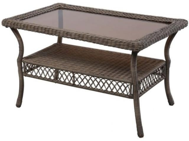 Coffee Table Spring Haven Grey Wicker Outdoor Patio Steel Frame Rust For Haven Coffee Tables (Image 4 of 40)
