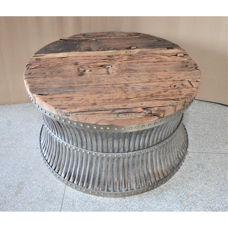 Coffee Table Vintage Wood Metal – Saffrane Inside Vintage Wood Coffee Tables (Image 6 of 40)
