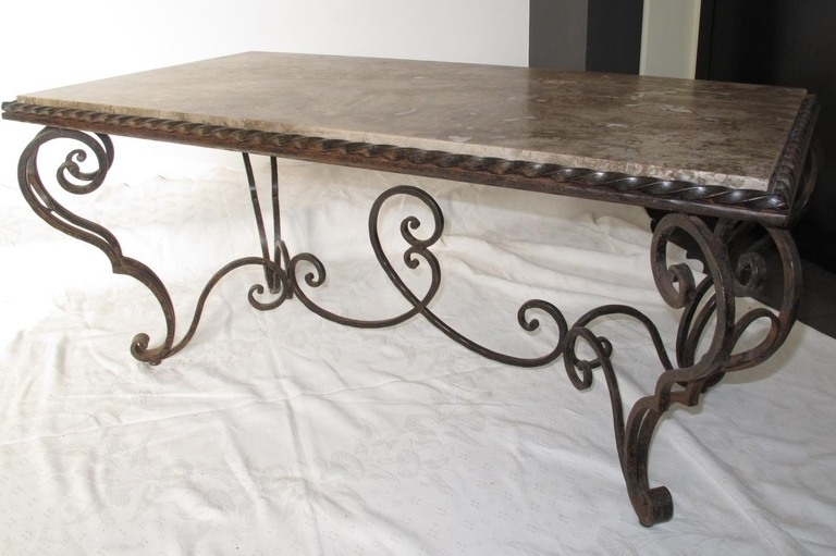 Coffee Table: Wrought Iron Coffee Table Designs Ideas Wrought Iron Throughout Iron Marble Coffee Tables (Image 8 of 40)
