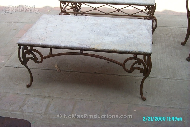 Coffee Table Wrought Iron With Travertine Marble Top – No Mas Intended For Iron Marble Coffee Tables (Image 6 of 40)