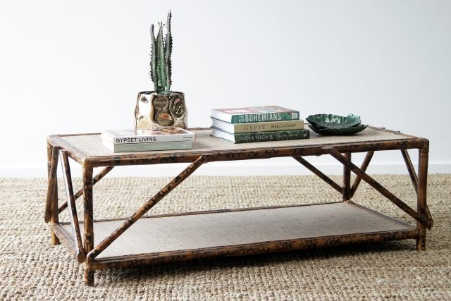 Coffee Tables | Naturally Cane Rattan And Wicker Furniture Within Cacti Brass Coffee Tables (Image 19 of 40)