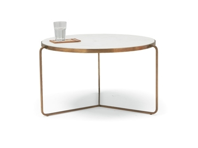 Coffee Tables | Wooden, Metal, Painted & With Storage | Loaf In Round White Wash Brass Painted Coffee Tables (View 15 of 40)