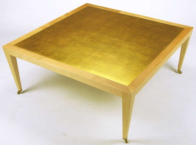Collection In Gold Leaf Coffee Table With Donghia Square Flame Maple Throughout Gold Leaf Collection Coffee Tables (Image 7 of 40)