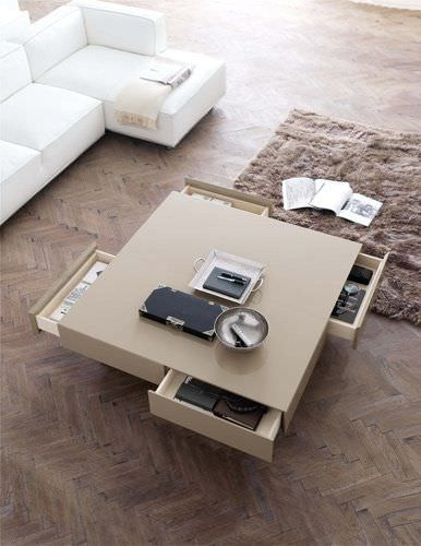 Contemporary Coffee Table / Lacquered Wood / With Storage Throughout Casablanca Coffee Tables (View 39 of 40)