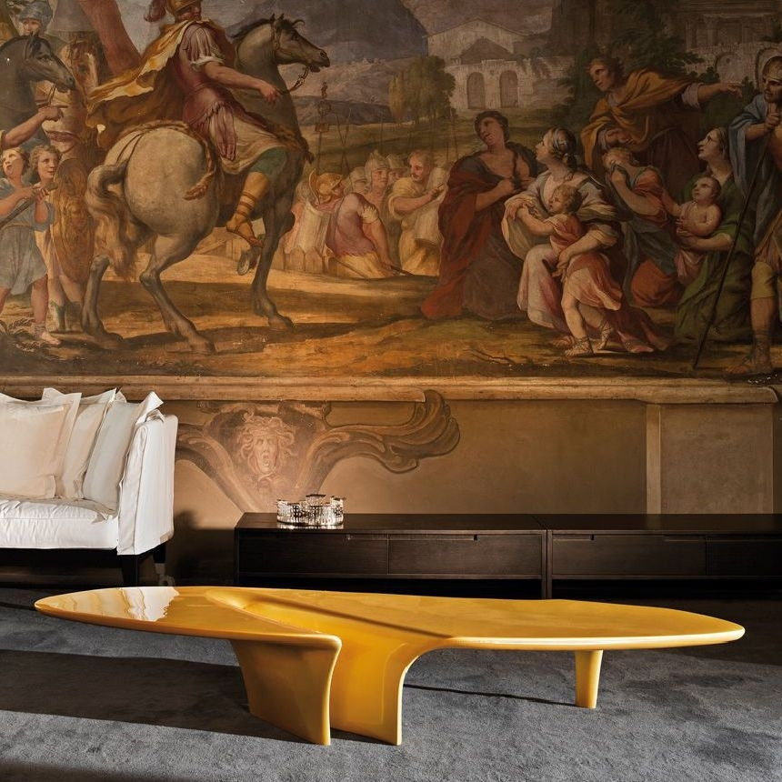 Contemporary Coffee Table / Polyurethane / Oval / White – Waterfall Pertaining To Expressionist Coffee Tables (View 32 of 40)