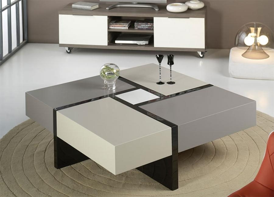 Contemporary Coffee Tables With Storage | Amepac Furniture Within Stack Hi Gloss Wood Coffee Tables (Image 6 of 40)