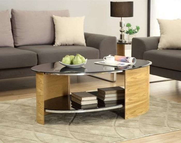 Contemporary Curve Oval Oak Wood Veneer Black Glass Coffee Table Regarding Contemporary Curves Coffee Tables (View 10 of 40)