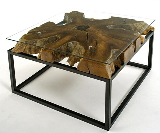 Contemporary Rustic Coffee Table, Natural Solid Wood, Modern Pertaining To Modern Rustic Coffee Tables (Image 8 of 40)