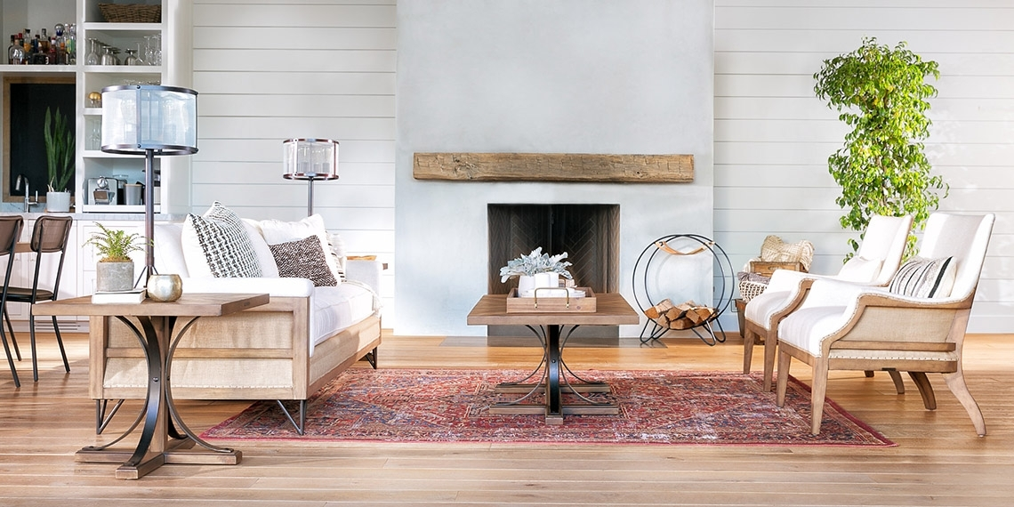 Country/rustic Living Room With Magnolia Home Paradigm Sofa | Living Intended For Magnolia Home Iron Trestle Cocktail Tables (Image 3 of 40)