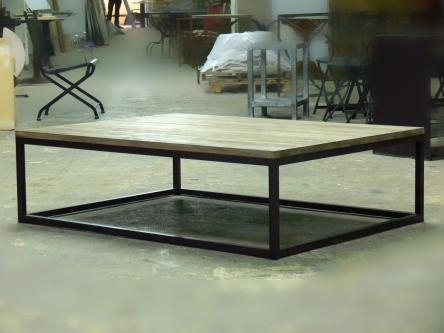 Cube Coffee Table Wood Aged Iron – Pertaining To Aged Iron Cube Tables (Image 13 of 40)