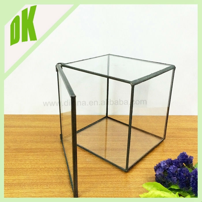 Cube Glass Candle Holder #~ Copper Lantern Crystal Bell Glass Crown Pertaining To Aged Iron Cube Tables (Image 14 of 40)