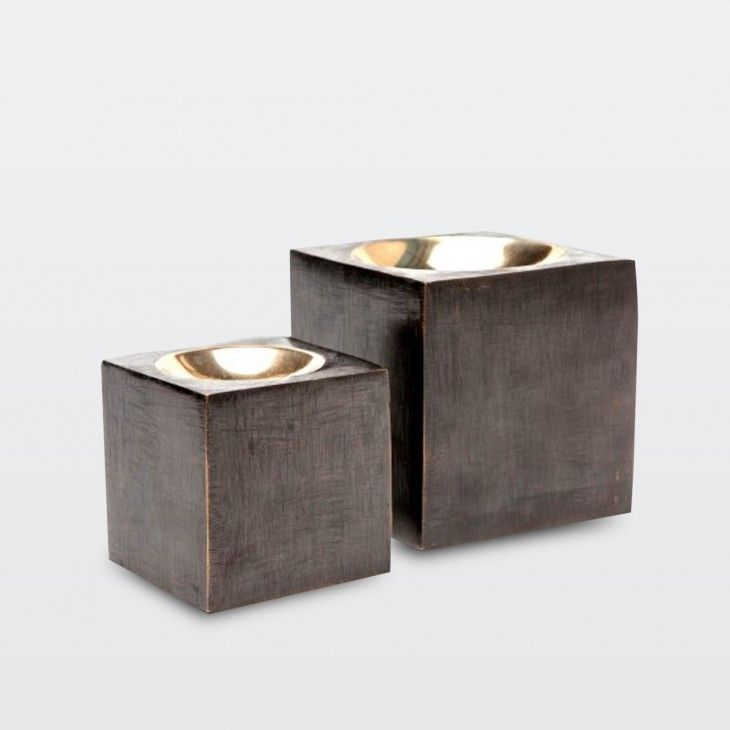 Cube Sculpture Iron/brass – Set Of 2 – Elte Inside Brass Iron Cube Tables (Image 7 of 40)