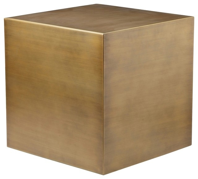Cube Side Table – Modern – Side Tables And End Tables  Advanced Within Acrylic & Brushed Brass Coffee Tables (Image 21 of 40)