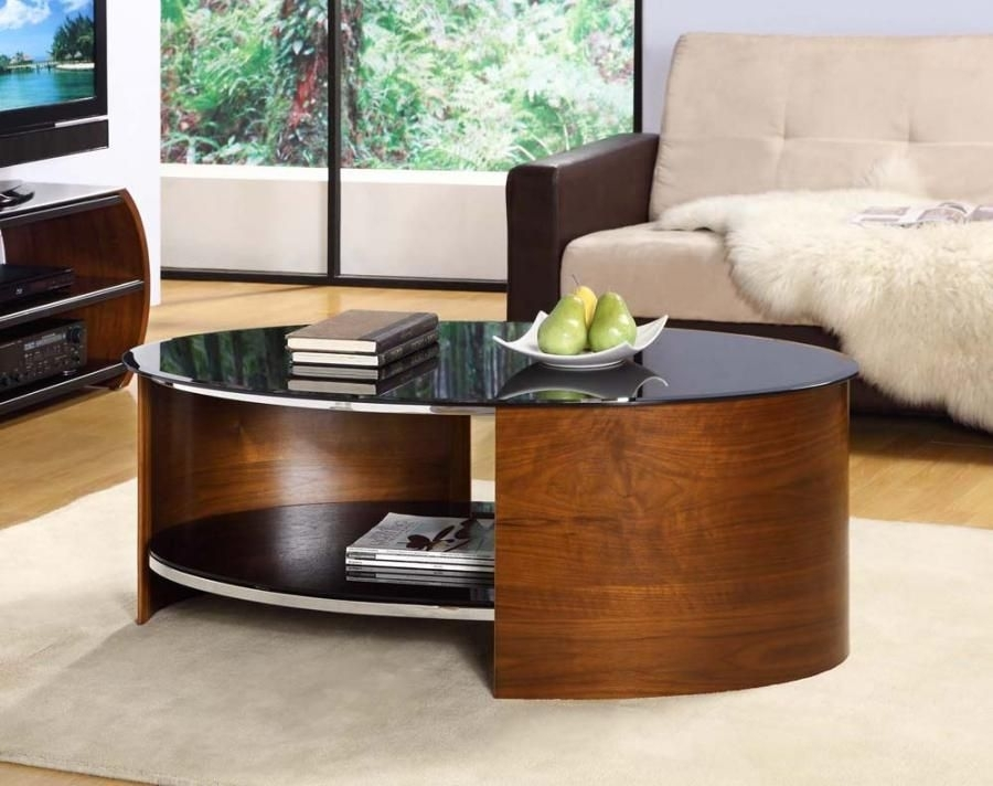 Curve Oval Walnut Veneer Black Glass Coffee Table – Contemporary Regarding Contemporary Curves Coffee Tables (View 31 of 40)