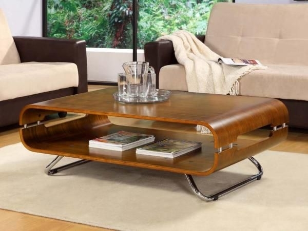 Curve Walnut Veneer Contemporary Coffee Table | Trendy Products In Contemporary Curves Coffee Tables (View 14 of 40)