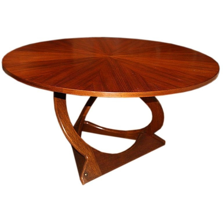 Danish Round Teak Coffee Table With Teak Veneer Top | Furniture Pertaining To Round Teak Coffee Tables (Image 7 of 40)