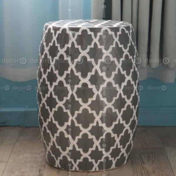 Decor8 Stool | Casbah Trellis Ceramic Drum Stool – More Colors With Casbah Coffee Side Tables (Image 26 of 40)