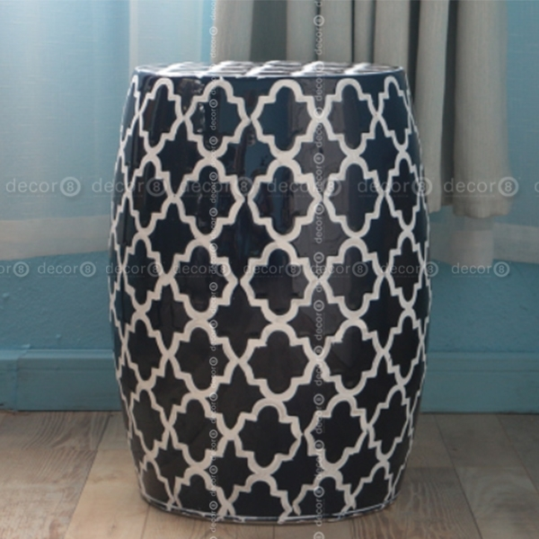 Decor8 Stool | Casbah Trellis Ceramic Drum Stool – More Colors Within Casbah Coffee Side Tables (Image 27 of 40)