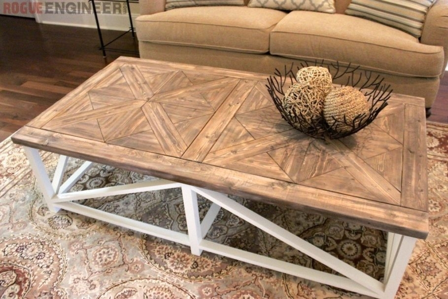 Decorative Diy Parquet X Brace Coffee Table Free Plans Rh Inspired Pertaining To Parquet Coffee Tables (Image 11 of 40)