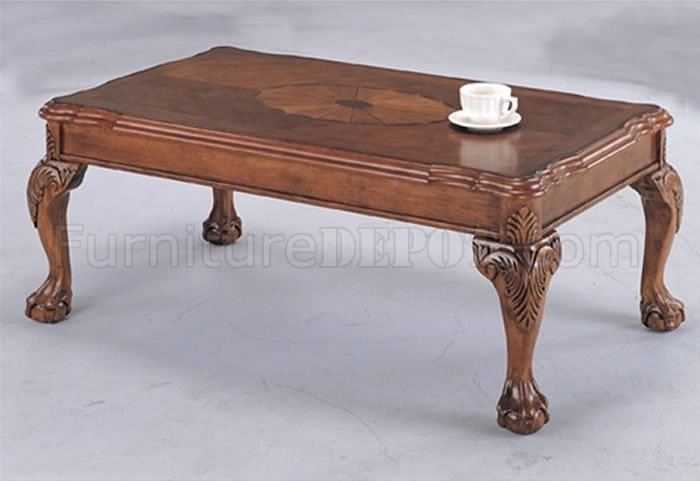 Deep Brown Traditional Coffee Table With Shell Design Inlays Pertaining To Traditional Coffee Tables (View 33 of 40)