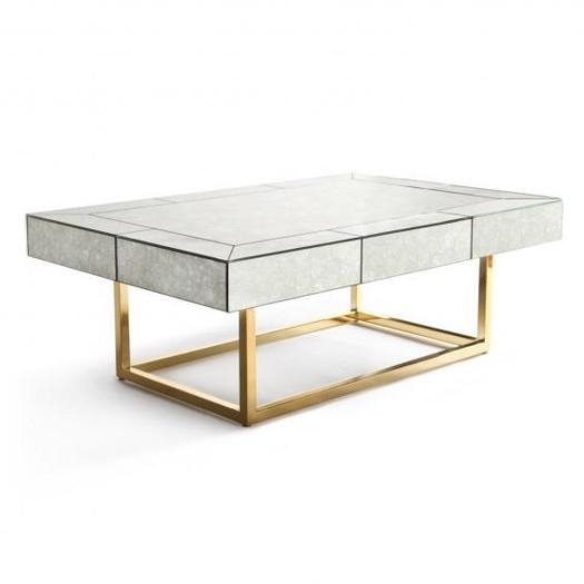 Delphine Antiqued Glass Gold Coffee Table Intended For Rectangular Brass Finish And Glass Coffee Tables (Image 10 of 40)