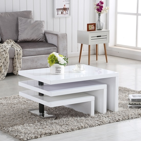Design Coffee Table Rotating In White High Gloss With 3 With Spin Rotating Coffee Tables (Image 8 of 40)