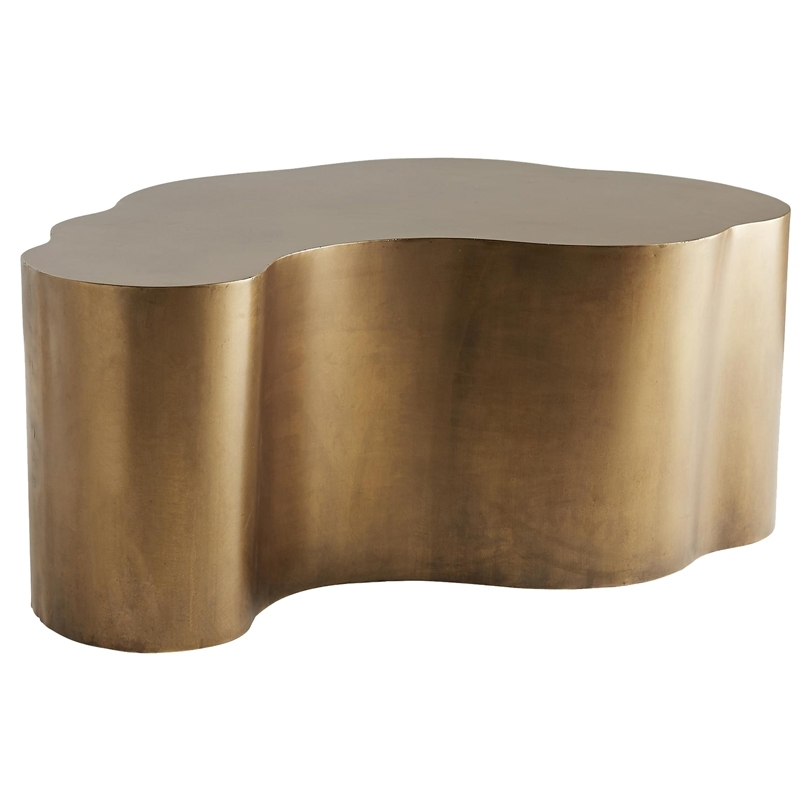 Designer Coffee Tables – Eclectic Coffee Tables | Kathy Kuo Home Pertaining To Round White Wash Brass Painted Coffee Tables (View 26 of 40)