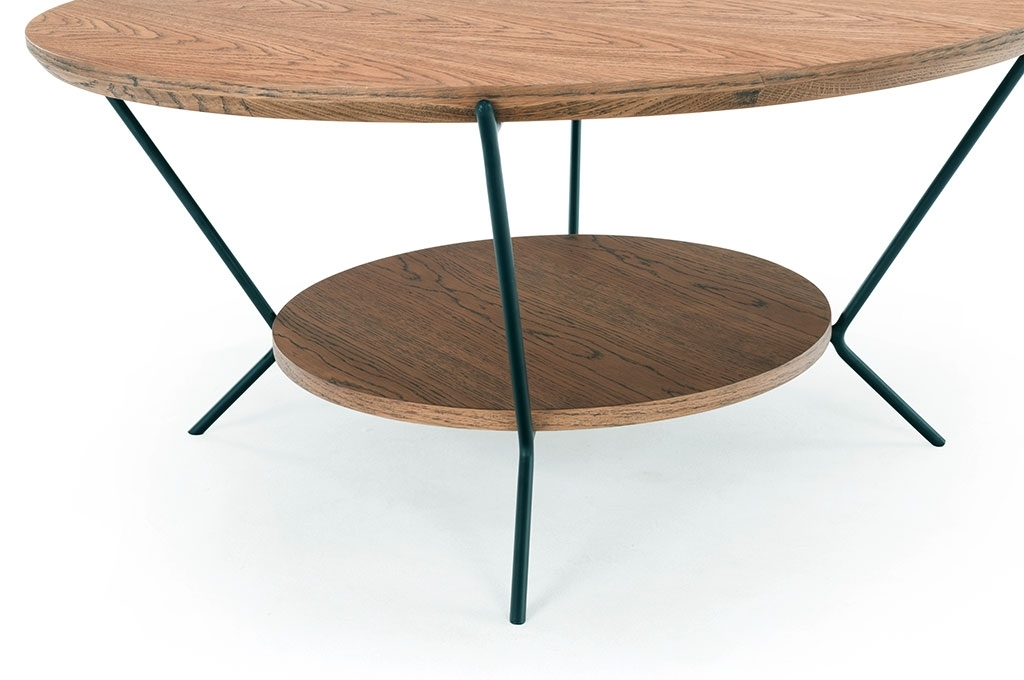 Dexter, Coffee Table, Smoked Oak Top, Metal Matt Black Legs Within Smoked Oak Coffee Tables (Image 10 of 40)