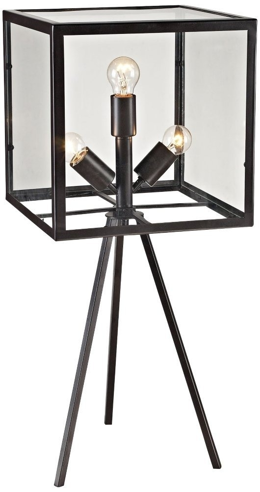 Dimond Lighting 3 Light Workshop Glass Cube Table Lamp, Aged With Aged Iron Cube Tables (Image 19 of 40)