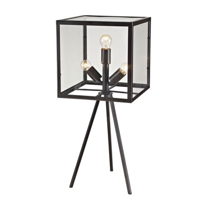 Dimond Lighting D2658 28 Inch Glass Cube Table Lamp In Aged Bronze Inside Aged Iron Cube Tables (Image 20 of 40)