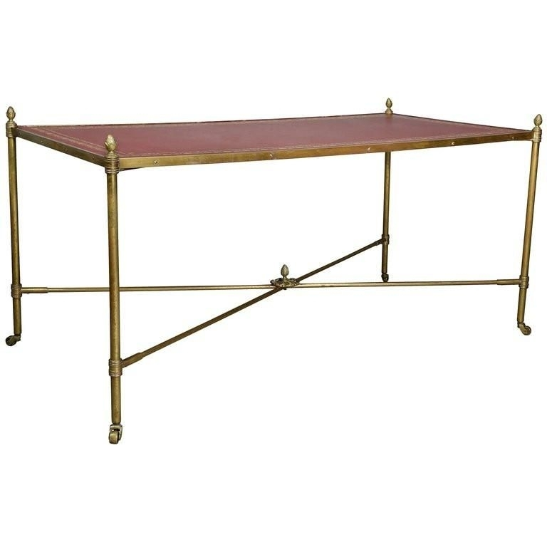 Directoire Style Brass And Leather Coffee Table Of Rectangular Shape With Regard To Rectangular Coffee Tables With Brass Legs (View 39 of 40)