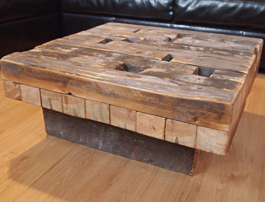 Distressed Barnwood Coffee Table — Inspire Furniture Ideas Inside Limewash Coffee Tables (Image 6 of 40)