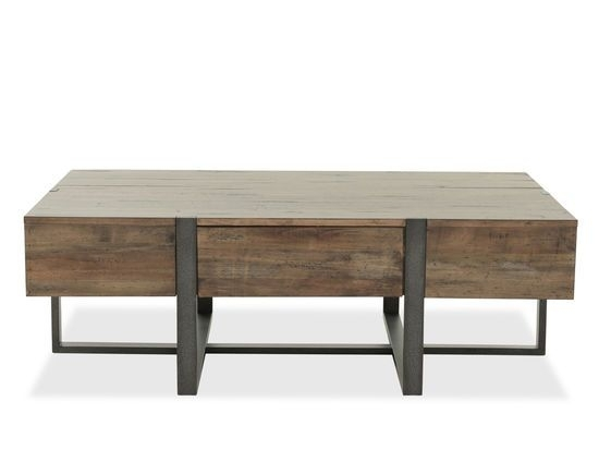 Distressed Rectangular Industrial Cocktail Table In Brown | Living Throughout Anson Cocktail Tables (Image 17 of 40)