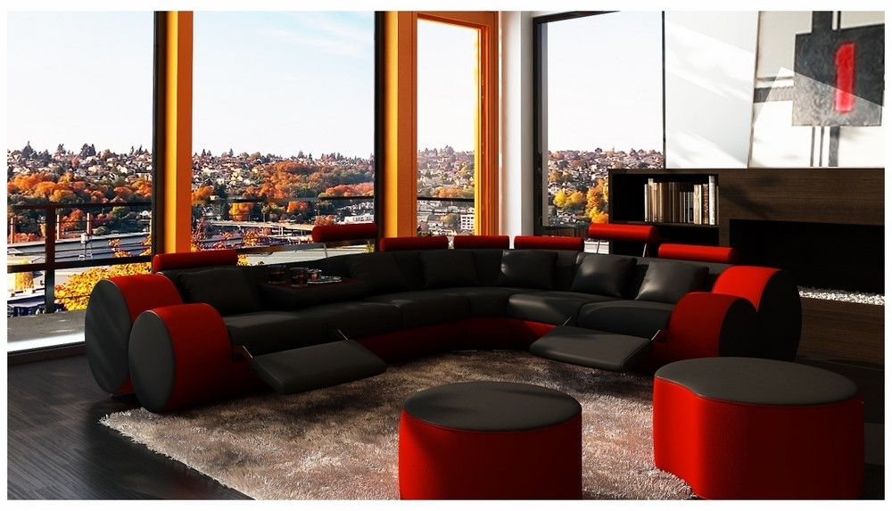 Divani Casa 3087 – Modern Black And Red Bonded Leather Sectional Inside Potomac Adjustable Coffee Tables (Image 17 of 40)