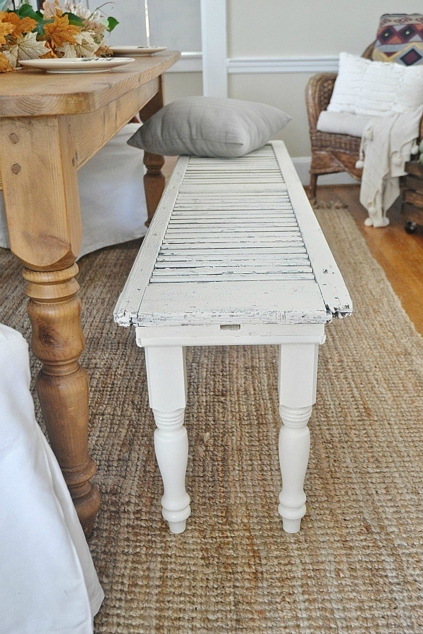 Diy Rustic Shutter Bench – Liz Marie Blog Regarding Natural 2 Drawer Shutter Coffee Tables (View 39 of 40)