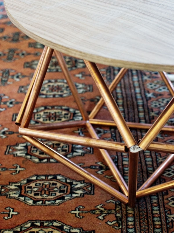 Diy Side Table With Himmeli Base From Copper Pipe Inside Flat Black And Cobre Coffee Tables (Image 15 of 40)