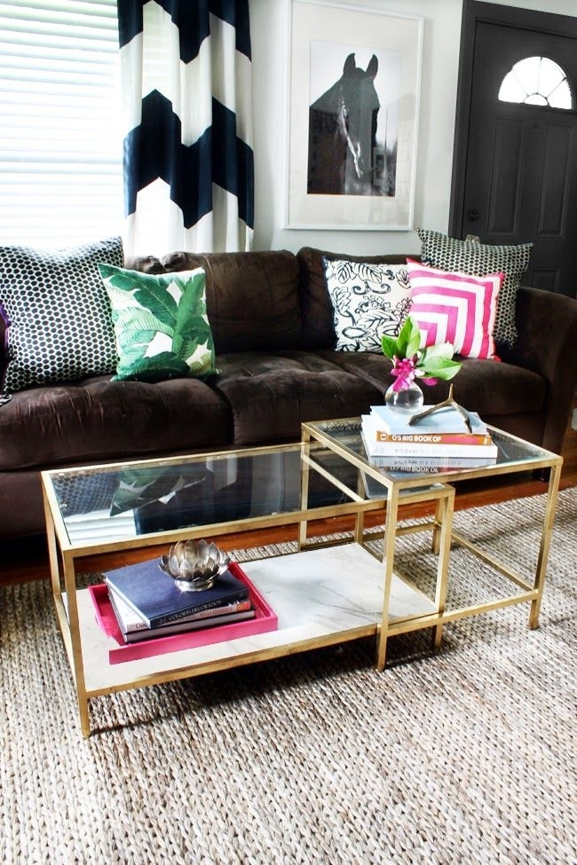 Diy Tuesday: Easy Gold Ikea Coffee Table Hack | Home Decorations Inside Round White Wash Brass Painted Coffee Tables (View 22 of 40)