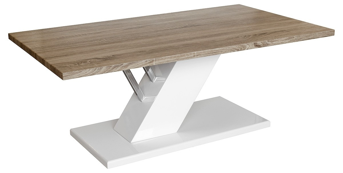 Drifter Coffee Table (White/washed Oak) – Be Fabulous! With Stack Hi Gloss Wood Coffee Tables (Photo 8 of 40)