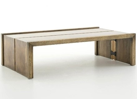 Dusk Coffee Table, Large In Salvaged Wood And Brushed Brass For Sale Regarding Joni Brass And Wood Coffee Tables (Image 23 of 40)