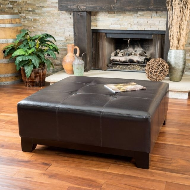 Elegant Espresso Brown Leather Ottoman Coffee Table W/ Button Tufted Regarding Button Tufted Coffee Tables (Photo 4 of 40)
