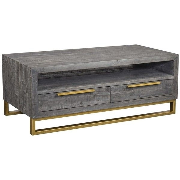 Elle Brass Leg Reclaimed Wood 2 Drawers Coffee Table ($1,059 Intended For Weaver Dark Rectangle Cocktail Tables (Image 23 of 40)