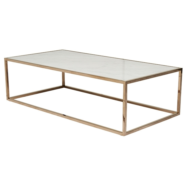 Elle Cube White Marble Coffee Table With Brass Frame | Ash Road For Brass Iron Cube Tables (Image 11 of 40)