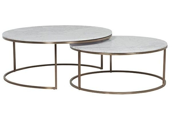 Ellen Middleton $2760 Elle Round Marble Nest Coffee Tables | Jl 几类 Within Modern Marble Iron Coffee Tables (Image 13 of 40)