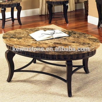 Emperador Dark Marble Oval Stone Top Coffee Table – Buy Oval Stone Pertaining To Stone Top Coffee Tables (Image 10 of 40)