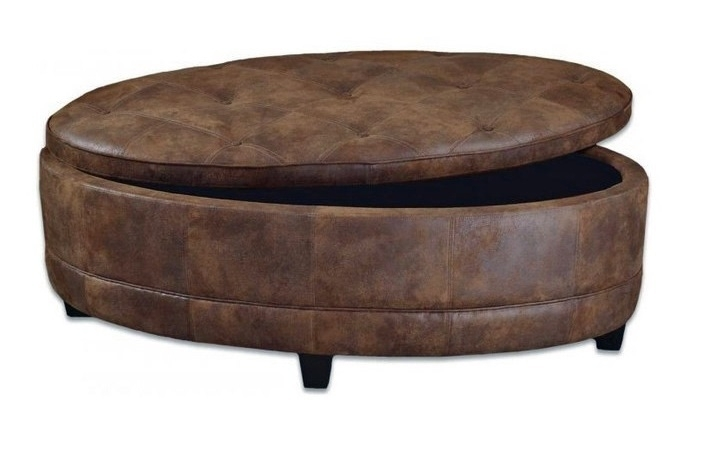 Endearing Large Round Ottoman Coffee Table Red Button Tufted Velvet Pertaining To Round Button Tufted Coffee Tables (Photo 14 of 40)