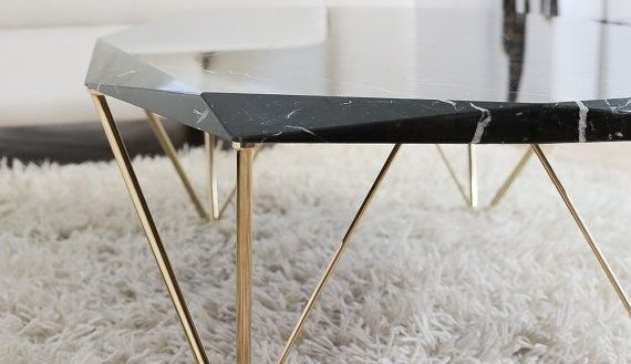 Enthralling Black Marble Coffee Table Of Round Cupid Side Furniture With Alcide Rectangular Marble Coffee Tables (View 29 of 40)