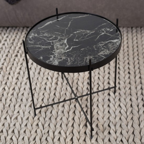 Enthralling Black Marble Coffee Table Of Round Cupid Side Furniture Within Alcide Rectangular Marble Coffee Tables (Photo 10 of 40)